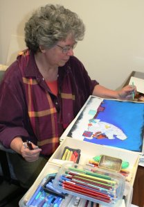 {Suzanne Bloom At Work In Her Studio}