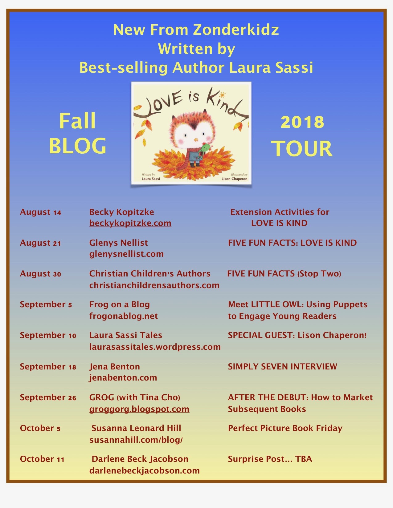 Love is KInd Blog Tour Schedule