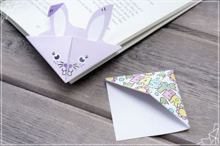 Bunny and Holiday origami bookmarks (photo property of Personal Creations)
